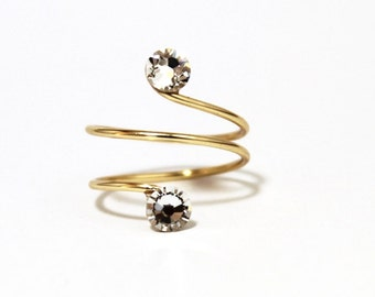 Gold Plated Adjustable Toe Ring made with Clear  Swarovski Crystal Elements