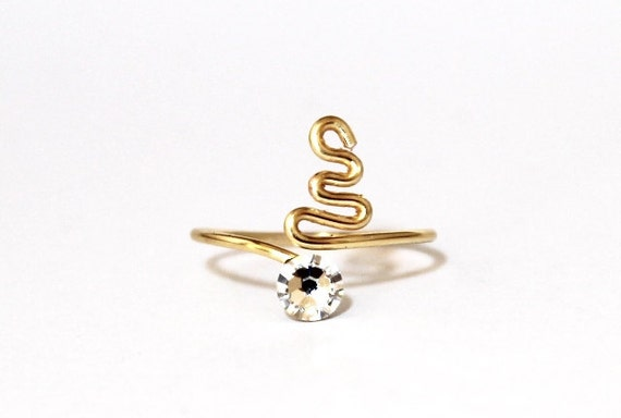 Adjustable Rose Gold Plated Toe Ring made with Clear Swarovski Crystal Elements