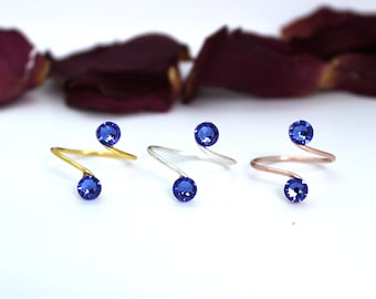 Adjustable Toe Ring made with Sapphire Swarovski Crystal Elements Choose Your Finish
