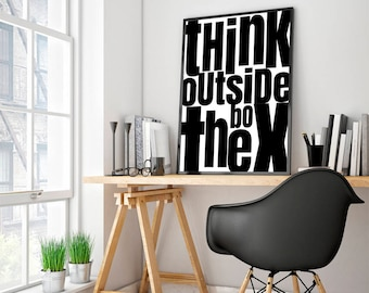 Decor for office Modern Think Outside The Box Poster Sign Office Decor For Men Office Motivational Print Inspirational Wall Art Typography Printable Art Etsy Office Decor For Men Etsy
