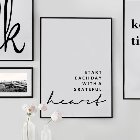 inspirational wall art quotes signs quote prints, motivational wall decor  poster gifts, start each day with a grateful heart printable art