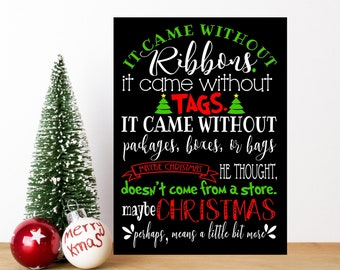 grinch stole christmas decor dr seuss sign art print canvas