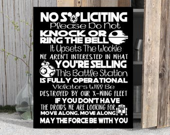 STAR WARS No Soliciting Sign DISNEY Art Print Canvas