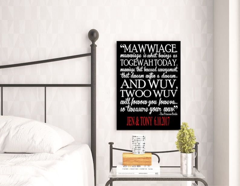 Princess Bride Valentines Day Gift Movie Quote Mawwiage Art Etsy