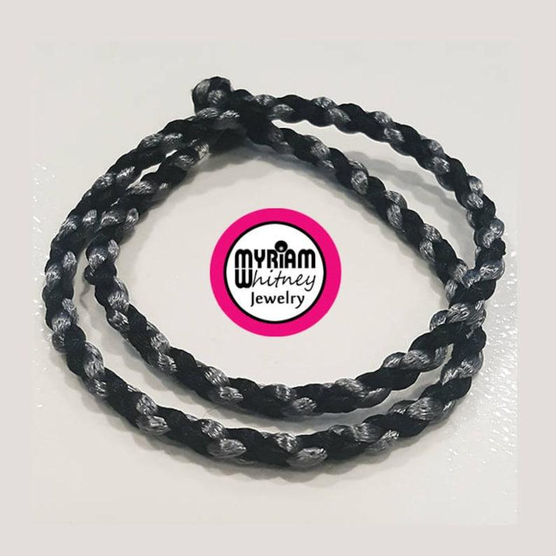 Bi-Color Dark Black Knight Silk Cord Necklace for Pendant image 0