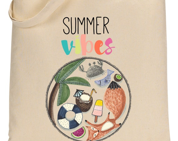 Fox Summer Totebag - Cotton Bag - Summer Vibes - Summer Bag