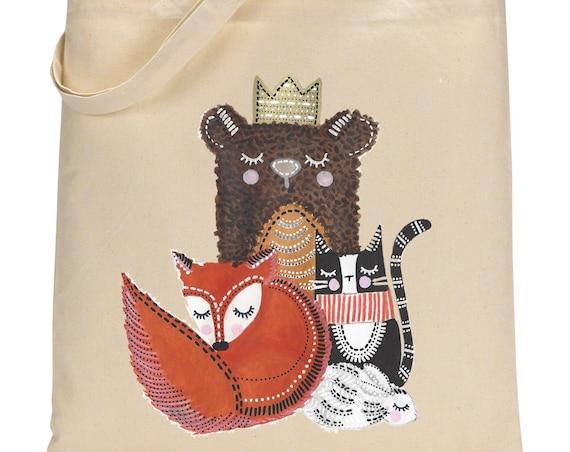 Fox Cat Bear Totebag - Cotton Bag - LIMITED EDITION