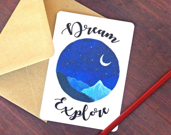 Dream Explore Mountain Card - Free Shipping! Art print Travel Poster