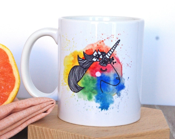 Unicorn Mug Watercolor - Funny Mug Gift for her