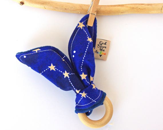 Constellation Pattern Bunny Ear Teether Natural Wood for Baby - Montessori