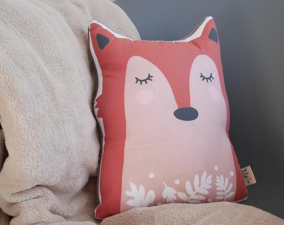 Fox and Flowers Pillow Organic Fabric Fox Cushion Kid's Room Decor