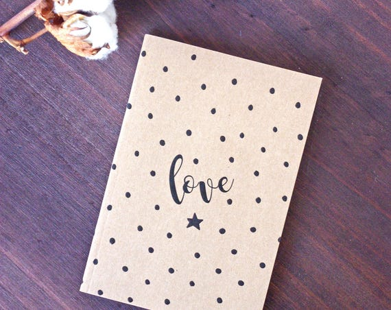 Polka Dots Love Notebook Kraft A6 - Bullet Journal