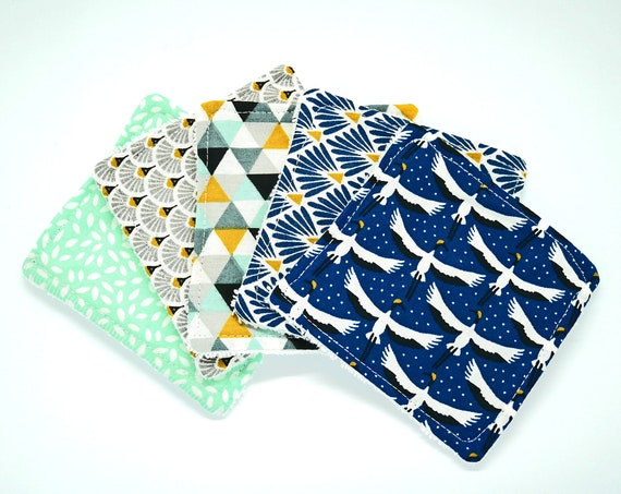 Japanese Crane Design Washable Reusable Cottons- Zero Waste Home