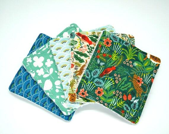 Mix Washable Cottons Jungle Green Scandinavian Design Washable Reusable Cottons- Zero Waste Home