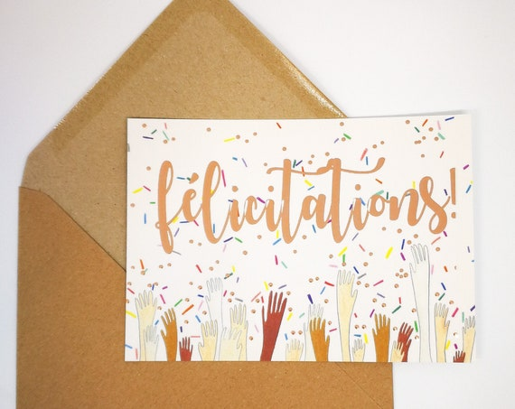 Congratulations French Rose Gold Postcard