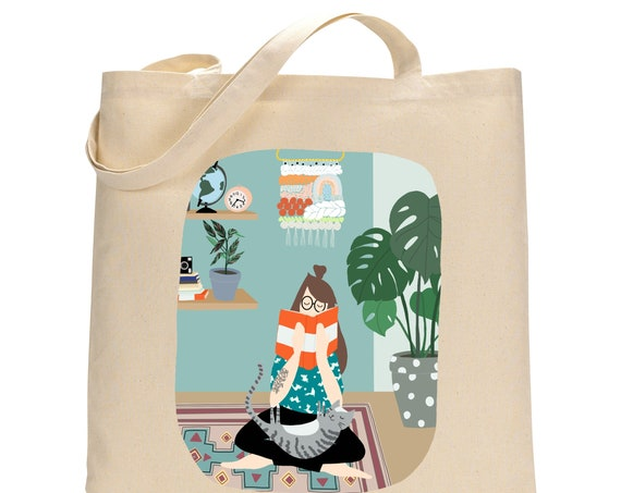 Cosy Home Girl Cat and Books Bag Totebag
