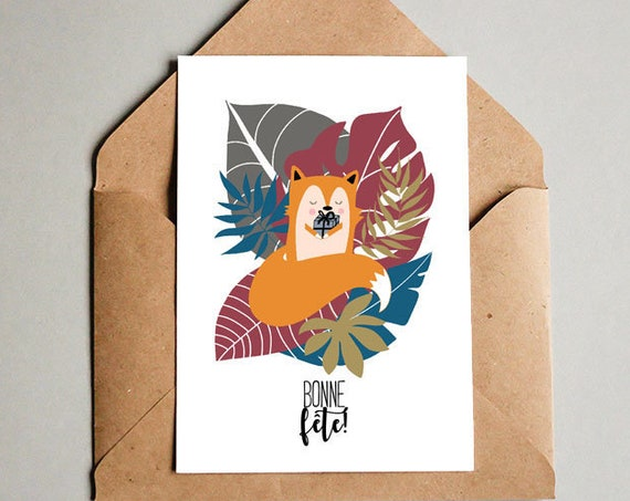 Mothers' day Fathers' Day Fox Card - Free Shipping! French Postcard Fox Lover Illustration Plant Lover Card