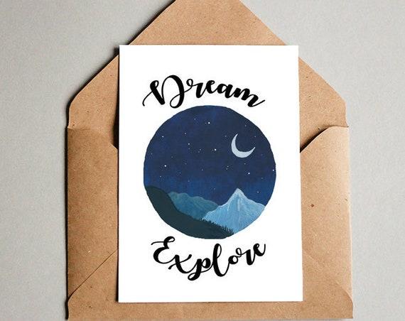 Dream Explore Mountain Card - Free Shipping! Art print Travel Poster