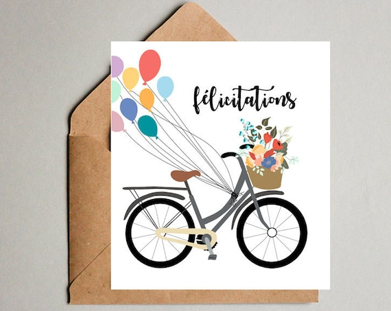 Congratulations French Bicycle Postcard Illustration