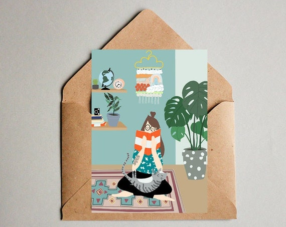 Cosy Home Illustration Postcard - Free Shipping! Artprint - Watercolor illustration