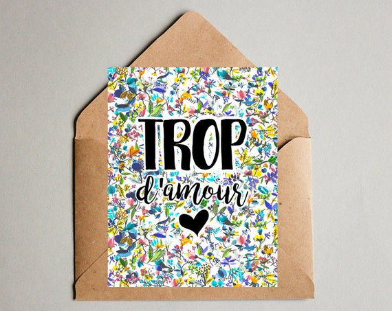 Trop d'amour Love French Postcard