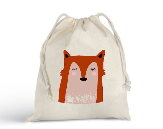 Fox Bunny Bulk Bag Totebag - Cotton Bag - Zero Waste Christmas