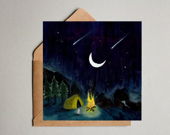 Camping trip Illustration Postcard