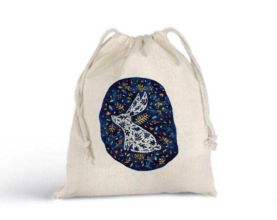 Fox Bunny Bulk Bag Totebag - Cotton Bag - Zero Waste Christmas