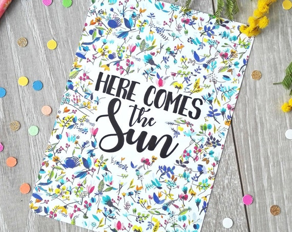 Here comes the sun Flower Illustration French Postcard - Free Shipping! Mother's Day / Gift for Mom - Artprint - Watercolor illustration