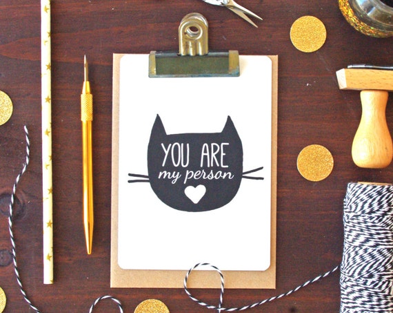 You are my person Cat Postcard - Free Shipping! Cat Artwork - Cat Illustration - Cat stationery