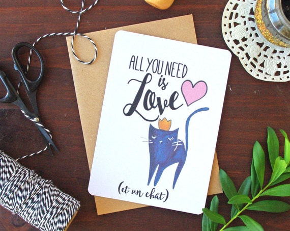 All you need is love Love French Cat Postcard - Free Shipping! Valentine's Day / Wedding