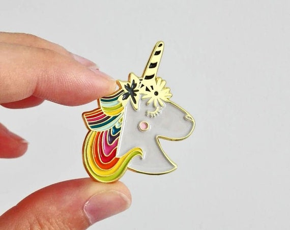 Unicorn Enamel Pin Hard Enamel Pin Copper Enamel Gift for Her Unicorn Lover Gift