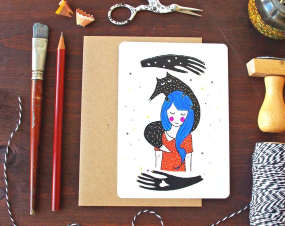 Weird Girl Card - Free Shipping! Art print Poster