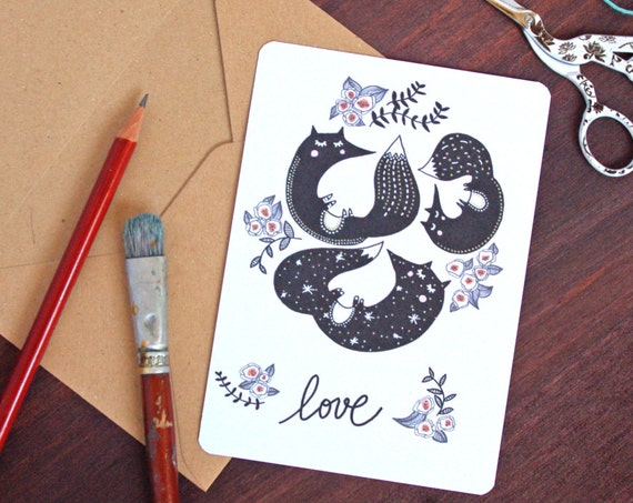 Je t'aime Love French Fox Postcard - Free Shipping! Valentine's Day / Wedding