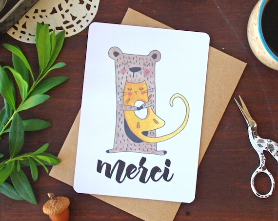 Thank you Cat Card - Free Shipping! Merci Cat Illustration