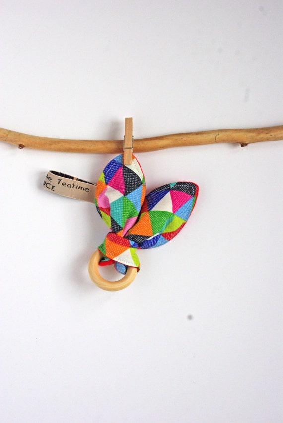 Bunny Ear Teether Natural Wood for Baby - Montessori Rainbow Elmer