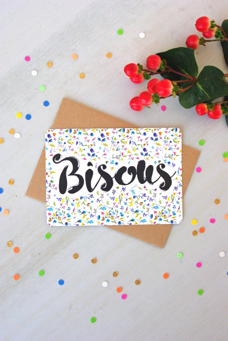 Love gift Bisous Flower Illustration French Postcard Free Shipping Watercolor illustration Artprint