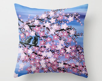 cherry blossom throw pillow, cherry blossom art, pink and white pillow, pink prints, throw pillow case, throw pillow cover, pillows for sofa