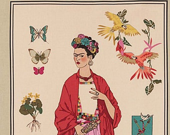 L'Artista con Alma Panel in Tea, Frida Kahlo 100% Cotton Fabric, by Alexander Henry Fabric The Artist with Soul