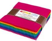Charm Squares Kona Cotton, Bright 101 Palette Robert Kaufman Pre Cuts