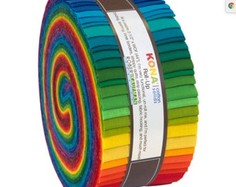 "Kaufman Kona Solids Bright Jelly Roll Up 1.5/"" Skinny Strips Fabric SS-106-41 pcs"