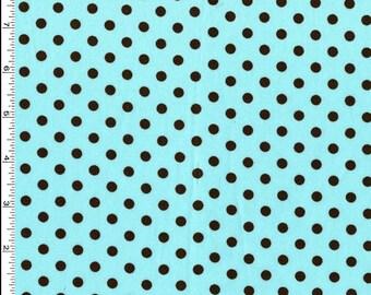 Dumb Dot Aqua Blue with Black Dots - Michael Miller
