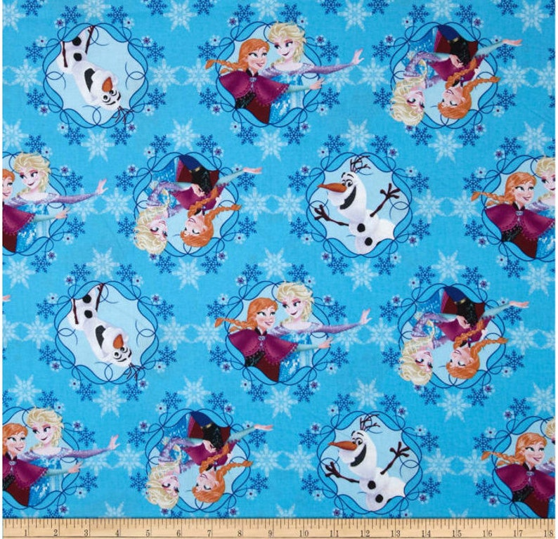 Frozen Fabric Sisters and Olaf 100/% cotton Springs Creative Ana Elsa Anna Disney Blue Background