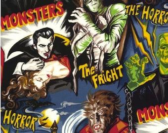 Pleasures and Pastimes Movie Monster Horror Fabric  Robert Kaufman Fabric Halloween