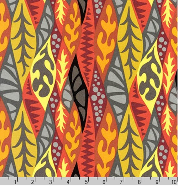 Psychedelia Pam Goecke Dinndorf Tomato Fabric Quilting Cotton by Robert Kaufman