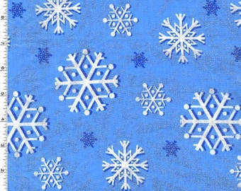 Snowflake Metallic Glitter Blue Fabric - Snowfall Collection - Michael Miller Fabrics in Blizzard Blue