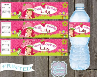 20 Strawberry Shortcake Water Bottle LabelsPersonalized Labels Self Adhesive Printed