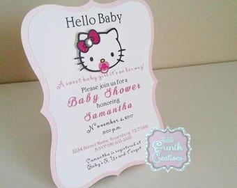 Hello Kitty Baby Shower Invitations-Hello Kitty Birthday Invitation-Hello Kitty Party