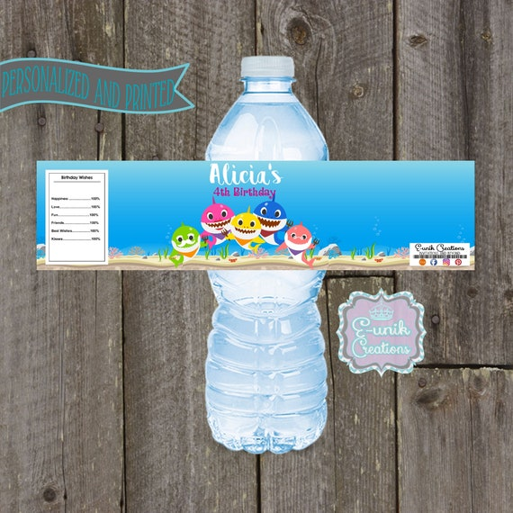 Water Bottle Name Tags: Baby Shark Water Bottle Labels Family Shark Personalized