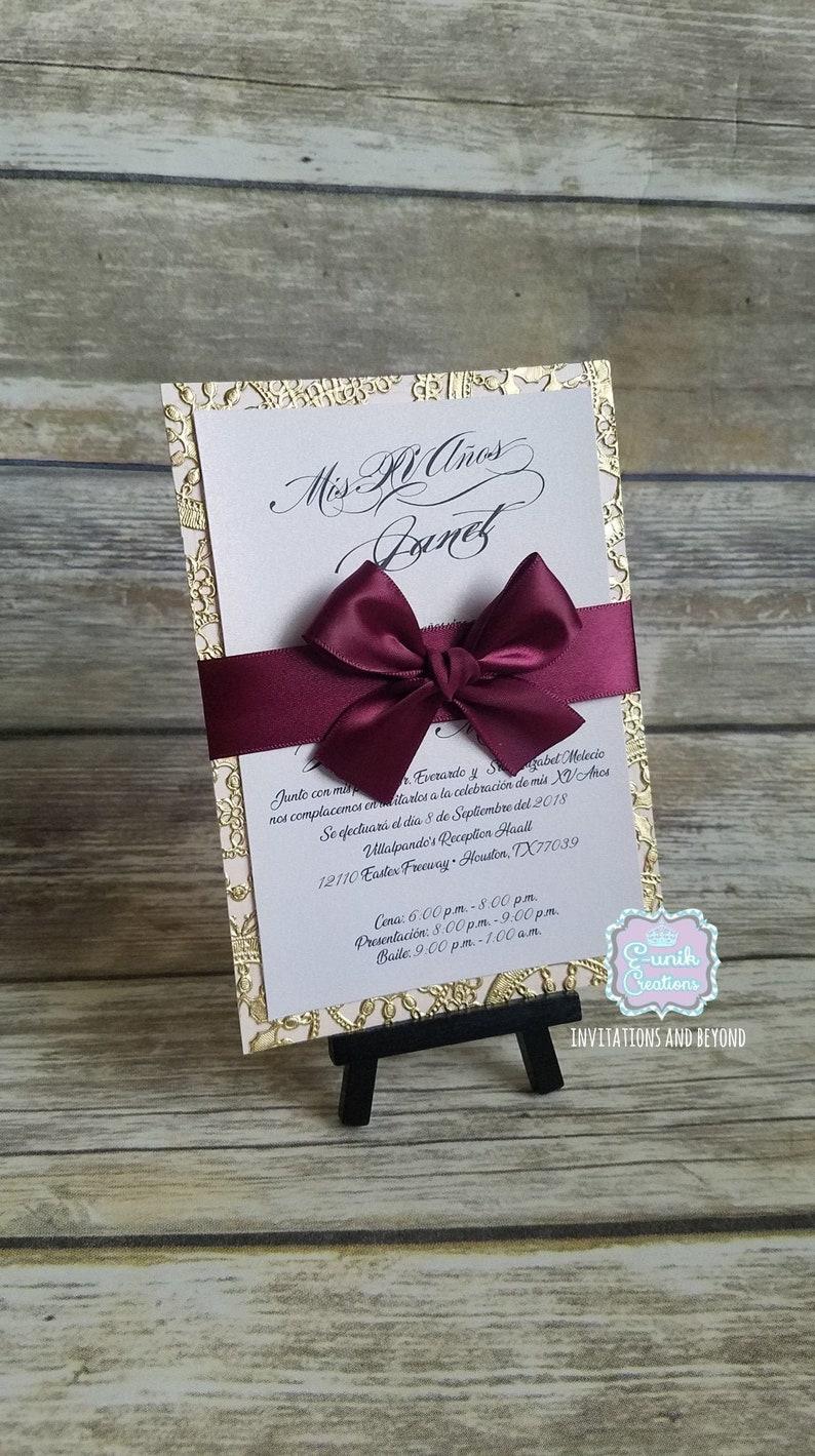 Gold and Burgundy Invitation Sweet 16 Invitation Quincea\u00f1era Invitation